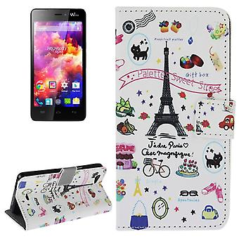 Protective case pouch (flip cross) for mobile WIKO highway signs motif Eiffel Tower