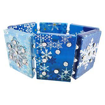 Paper Artwork Snowflake Rhinestone Stretch Bracelet