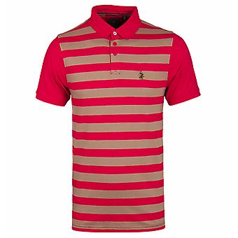 Luke 1977 9 Dream Red & Khaki Sand Stripe Short Sleeve Polo Shirt