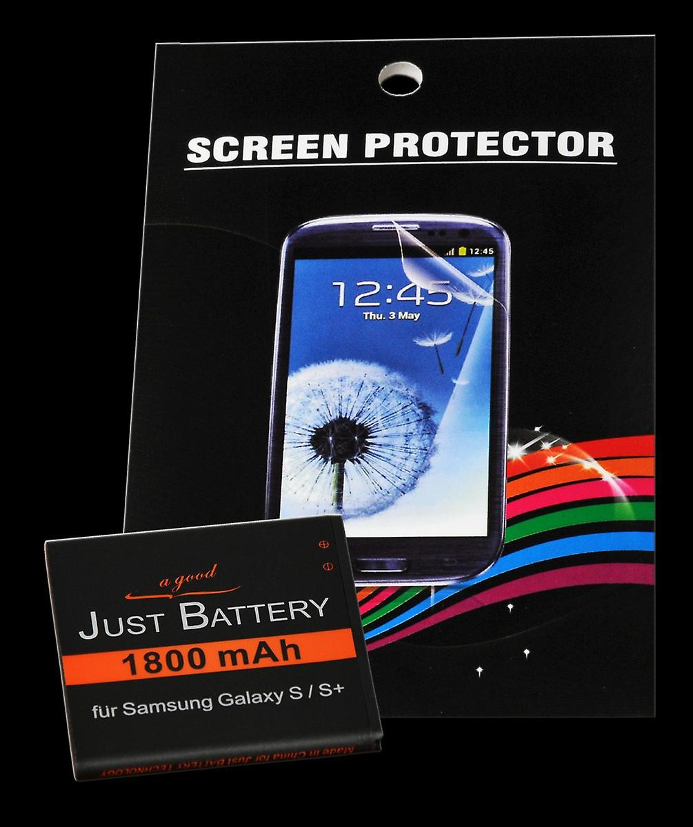 Battery + 4 x film for Samsung Galaxy S GT-i9001 plus