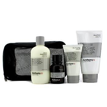 Anthony Logistics For Men The Perfect Shave Kit: Cleanser + Pre-Shave Oil + Shave Cream + After Shave Cream - 4pcs