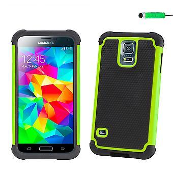 Stötsäker fall + penna för Samsung Galaxy S5 Mini (SM-G800) - grön