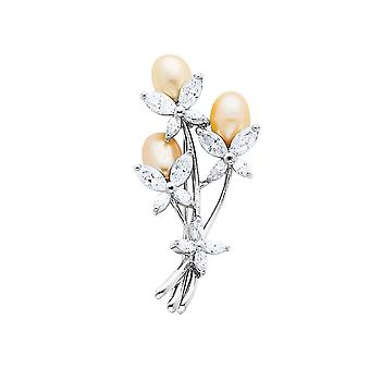 Cultured Pearl and Synthetic Cubic Zirconia (CZ) (CZ) Floral Brooch in Sterling Silver