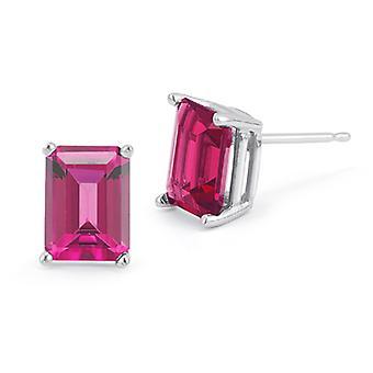 3.40 Carat Emerald-Cut Pink Topaz Stud Earrings in 14K White Gold