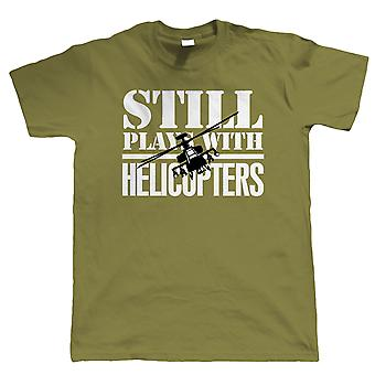 Vectorbomb, Still Plays With Helicopters, Mens Radio Control Helicopter T Shirt (S to 5XL)