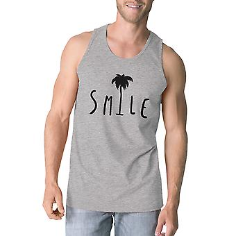 Smile Palm Tree Mens Grey Summer Tank Funny Design Graphic Tank Top