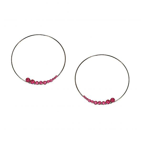 W.A.T Large Fuchsia Pink Crystal Hoop Shaped Fashion Earrings