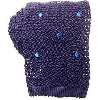 KJ Beckett Spotted Silk Knitted Tie - Blue