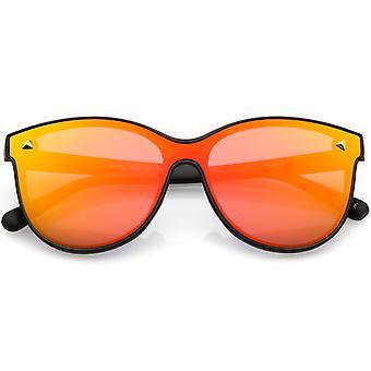 Modern Round Sunglasses Horned Rim Color Mirrored Flat Lens 58mm