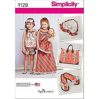 SIMPLICITY CHILD'S APPAREL AND ACCESSORY PATTERN-3-4-5-6-7-8 US1129A