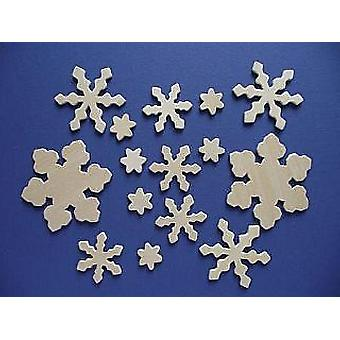 15 Assorted Wooden Christmas Snowflake Craft Shapes | Wooden Shapes for Crafts