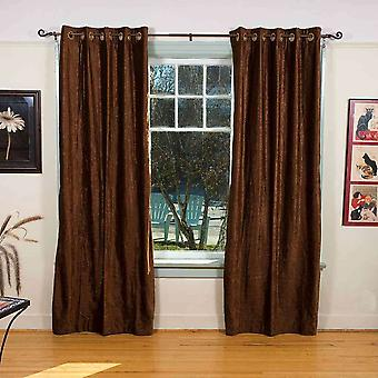 Brown anillo ojal superior cortina de terciopelo / cortina / Panel - pieza