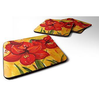 Carolines Treasures  6067FC Set of 4 Flower - Amaryllis Foam Coasters