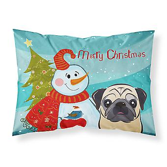 Snowman with Fawn Pug Fabric Standard Pillowcase
