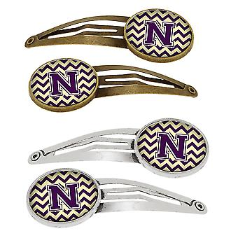 Letter N Chevron Purple and Gold Set of 4 Barrettes Hair Clips