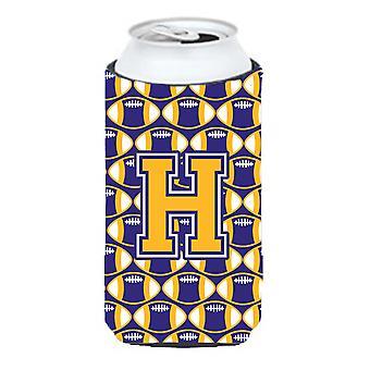 Litera H piłka nożna Purpura i złoto wysoki chłopiec napojów izolator Hugger
