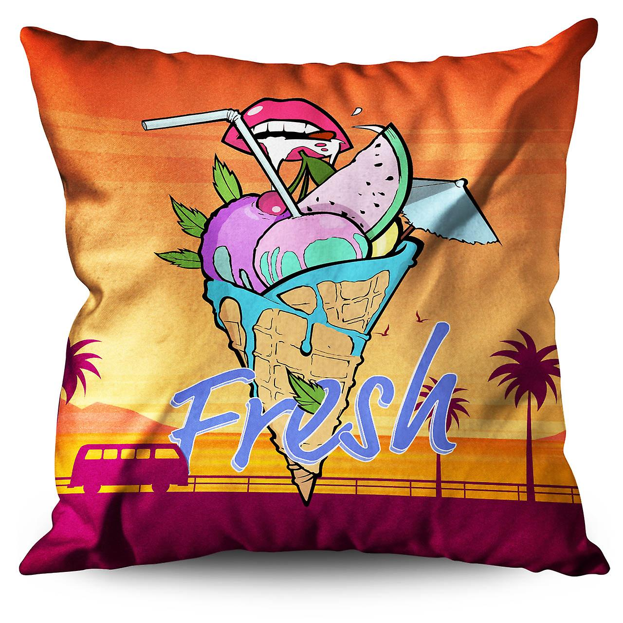 Ice Cream Fruit Lips Linen Cushion 30cm x 30cm | Wellcoda