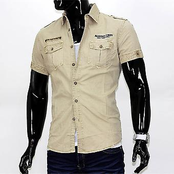 Men's short sleeve cargo pocket vintage polo shirt shirt mens shirt camel VIP