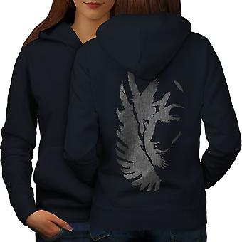 Wing Abstract Art Fashion Women NavyHoodie Back | Wellcoda