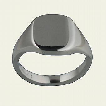 Silver 12x10mm solid plain cushion Signet Ring Size Q