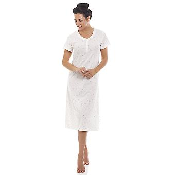 Camille White Lightweight Glitter Heart Short Sleeved Nightdress