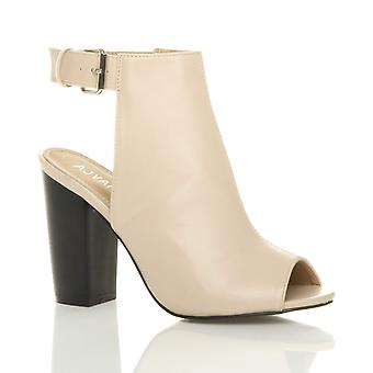 Ajvani Womens Block high-Heel Peep Toe Knöchel Gurt Schnalle offen zurück ausgeschnittenen Knöchel Stiefel Schuhe
