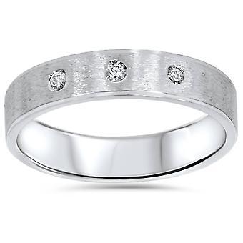 メンズ ホワイトゴールドつや消しダイヤモンド結婚指輪バンド
