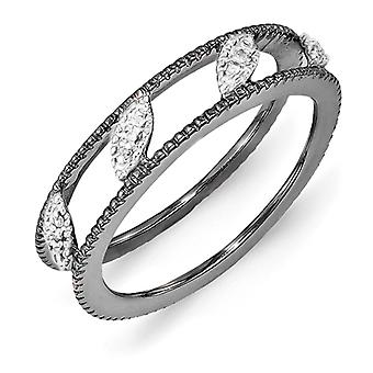 4.75mm Sterling Silver Polished Prong set Stackable Expressions Ruthenium-plated Diamond Jacket Ring - Ring Size: 5 to 1