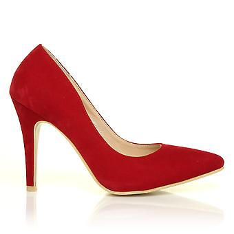 DARCY Red Faux Suede Stilleto High Heel Pointed Court Shoes
