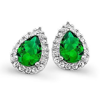 Orphelia Silver 925 Earring Drop Emerald Color Zirconium  ZO-7226/EM