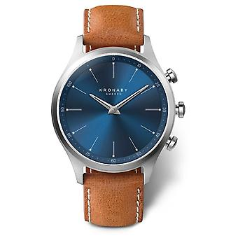 Kronaby 41mm SEKEL Blue Dial Brown Leather Strap A1000-3124 Watch