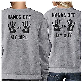 Hands Off My Girl And Guy Grey Couple Sweatshirts Matching Outfits