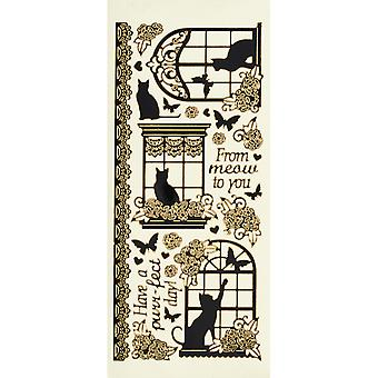 Dazzles Stickers-Cat In Windows-Black W/Gold