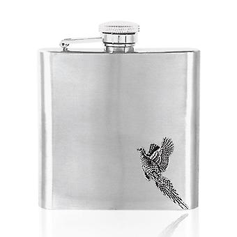 Pheasant Pewter Badge on Stainless Steel Flask Set - 6oz