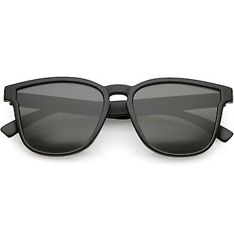 Classic Horn Rimmed Square Sunglasses Wide Arms Neutral Colored Lens 52mm