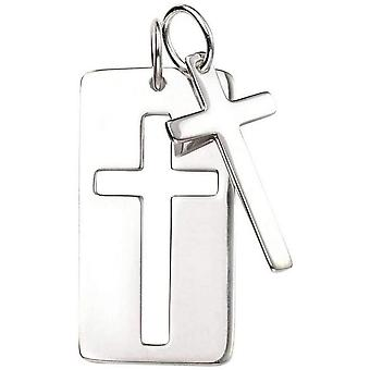 Beginnings Double Cross Cut Out Dog Tag Pendant - Silver