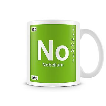 Scientifico stampato tazza con No - simbolo dell'elemento 102 Nobelio