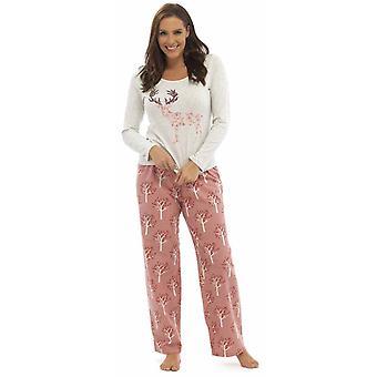 Дамы Foxbury печатных Джерси Топ длинные для пижамы набор пижамы пижамы
