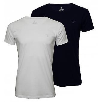 Gant 2-Pack Crew-Neck T-Shirts, Navy/White