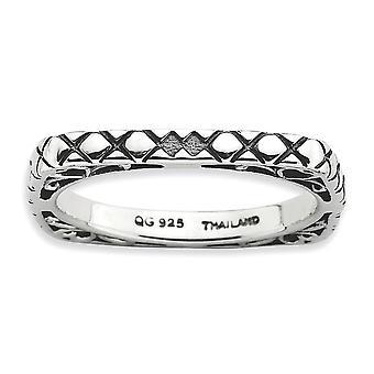 2,25 mm zilver patroon antieke afwerking stapelbare expressies gepolijst Boulder Square Ring - Ringmaat: 5 tot en met 10