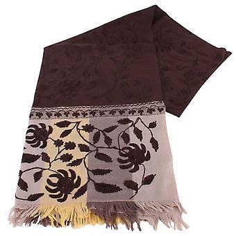 Bassin and Brown Redwood Large Flower Wool Scarf  - Brown/Beige/Fawn