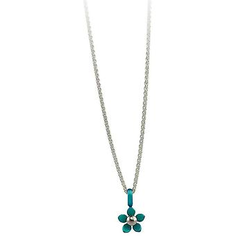 Ti2 Titanium Small Five Petal Flower Pendant - Kingfisher Blue