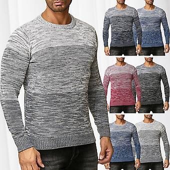 Mens Sweater Long Sleeve Sweat Shirt Pullover Knitted Sweatshirt Mottled