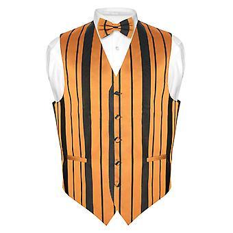 Men's Dress Vest & BOWTie & Woven Striped Design Bow Tie Set
