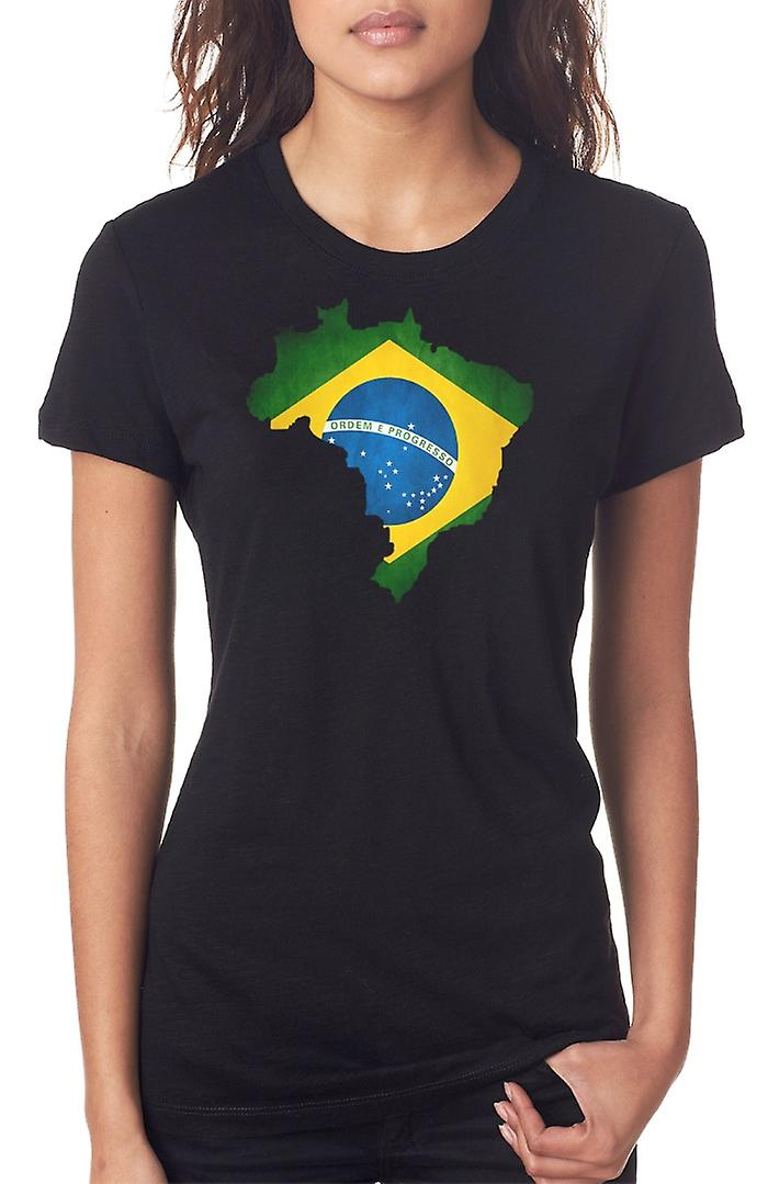 Brasiliano Brazil Flag mappa Ladies T Shirt
