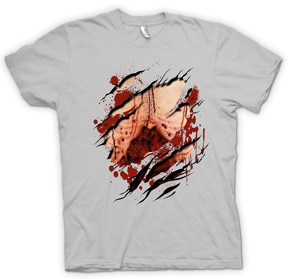 Mens T-shirt - Zombie Untoter blutige Lungen Riss Design