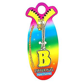 OOTB Initial B Yellow Hand Painted Base Metal 4.5 cm Glitter Zipper Puller