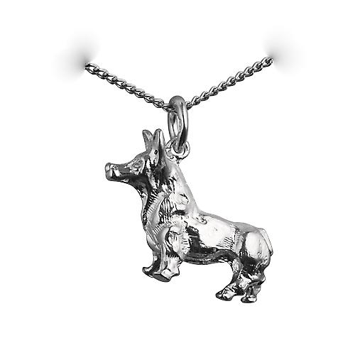 Silver 20x22mm solid Corgi Dog Pendant with a curb Chain 18 inches