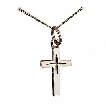9ct Gold 15x9mm Diamantschliff Sternen soliden Block Kreuz mit einem Bordstein Kette 16 Zoll nur geeignet für Kinder