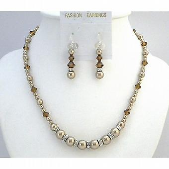 Bronze Swarovski Crystals & Pearls Necklace Set Bridal Jewelry Set